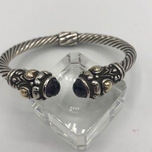 Sterling silver cuff with amethyst cuff